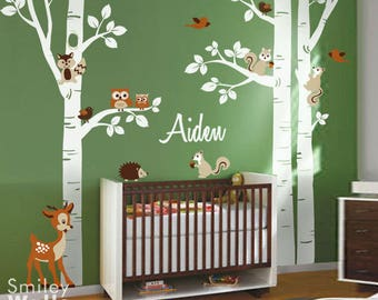 Forest Trees Wall Decal, Forest Animals Wall Decal, Birch Trees Wall Sticker, Owls Squirrels Bambi Nursery Wall Decal Baby Room Art Decor