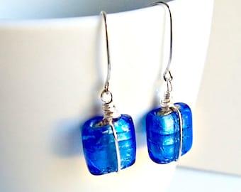 Blue Earrings, Boho Chic Blue Silver Earrings, Glass Earrings, Gifts for Her, Square Earrings, Cobalt Blue Glass, Everyday Earrings,