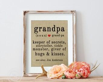 Gift from Grandkids, Gift for Grandpa, Christmas Gift, Burlap Art Print, Birthday Gift for Grandpa, Personalized Gift for Him