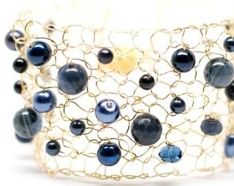 Blue Iolite Bracelet Gemstone Bracelet Pearl Bracelet Gold Cuff Bracelet Beaded Bracelet Arm Cuff Crystal Bracelet Wire Knit Jewelry for her