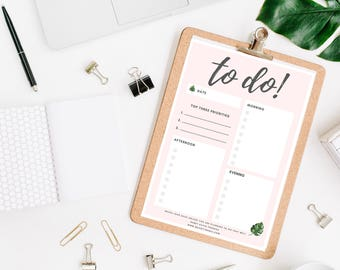 To Do List Printable, Printable To Do List, To Do List printable stationery, planner pages, monstera stationery, live a happy life