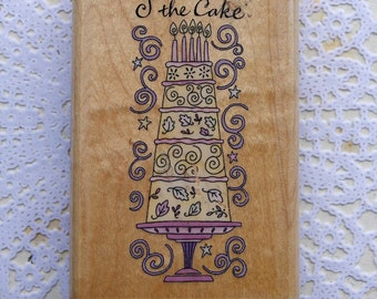 Wood Mounted Rubber Cake Stamp