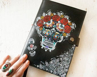 Leather Journal - Sugar Skull Day of the Dead - Hand Tooled Leather Diary - Mexicali Calaveras - Mesa Dreams - Made to Order