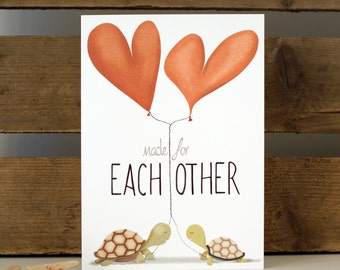 """Made for each other Greeting Card Everyday Love Turtles Valentines 7x5"""""""