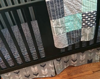 Custom Made to Order Baby Bedding in mint, navy and gray with a modern woodland feel that includes arrows