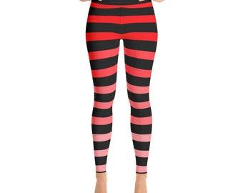 Orange Ombré Striped Yoga Leggings