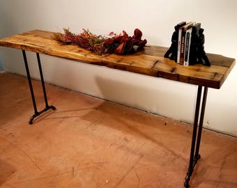 Farmhouse Table, Wide Sofa Table, Reclaimed Wood Table, Coffee Bar, Sideboard, Buffet, Hall Table, Farm Table, Industrial Hairpin Legs,