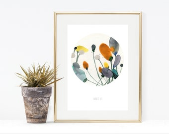 Minimalist Floral Watercolor Wall Art From Painting By Artist Annemette Klit Botanic Flower Print