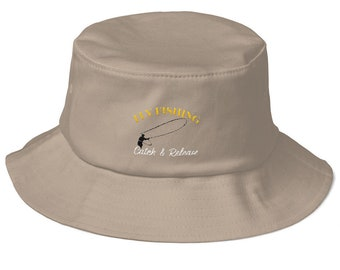 Fly Fishing Catch & Release Retro Angler Old School Bucket Hat