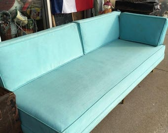 35% Off Sale Retro Home Danish Modern Teal Vinyl Sofa With 2 Cushions  Atomic Legs