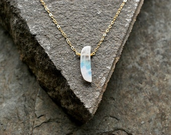 Rainbow Moonstone Necklace - Half Moon Pendant with Gold Chain E310