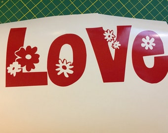 Love (Word) With Flowers Vinyl Decal