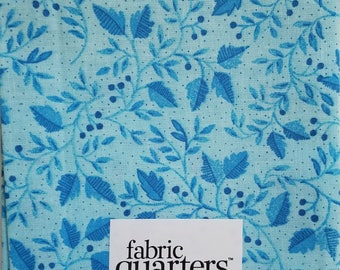 """Fabric Quarters Cotton Fabric 18""""-Leaves & Berries on Blue"""