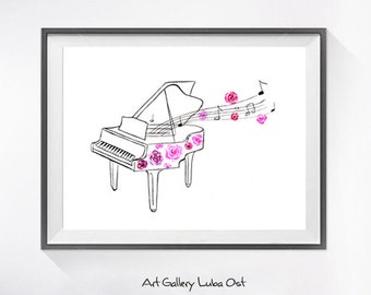 Watercolor Piano Print of My Original Painting - Musical Instrument Watercolor Painting, Nursery Wall Decor, Home Wall Art, Art Print, Art