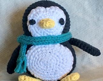 Handmade - Crochet Penguin with Scarf - Cute, Stuffed Penguin