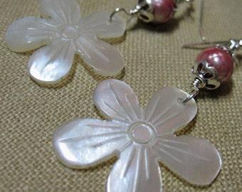 Carved Morher of Pearl Asian Flower Earrings - E738