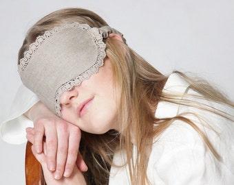 Linen Natural Sleep Eyemask/ Flax Eyemask/ Luxury Eyemask Laced/ Eco Eyemask/ Bio Sleep Eyewear/ Calm Sleeping Eyewear