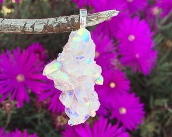Angel Aura Quartz Cluster Silver Pendant #707