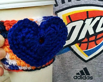 Crocheted OKC Thunder Heart Cozy