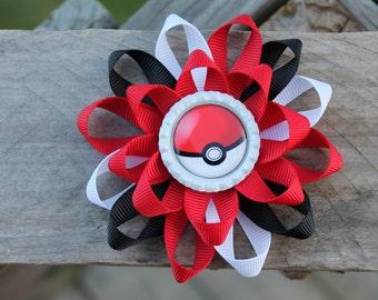 Pokemon inspired hair bow, Pokemon inspired bow, girls hair bow, poke ball hair bow, Pokemon, hair bow, girls bow