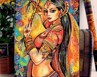Indian Classical Dancer Beautiful Indian woman painting Bollywood Dance home decor wall decor woman art, ACEO wood block, ABDG