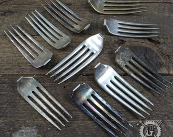 Silver Fork Assortment - 10 Pieces - Antique Plated - Perfect for Metal Stamping Projects - Make Pendants, Necklaces, Earrings, Bracelets