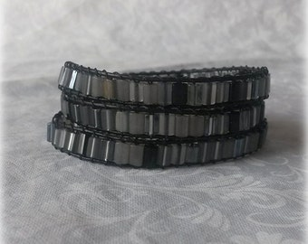 Black and Grey Wrap Bracelet - Black and grey beads and black leather