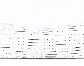 "Lines Large White Lumbar Mudcloth Pillow | African White and Black Mud Cloth Pillow | Natural Mudcloth Pillow | 13"" x 34"" Lumbar Mud Cloth"