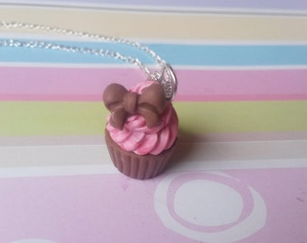 Bow Cupcake Necklace ( pink cupcake necklace cupcake jewelry cupcake charm kawaii polymer clay chocolate cupcake food jewelry cute necklace)
