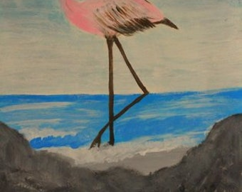 Original bird painting ,pink Stork,beach ,water,rocks,ocean blue sky,gift,sale....