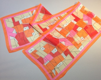 Vera Neumann Pink and Orange Geormetric Graphic Mid-Century Mod Scarf