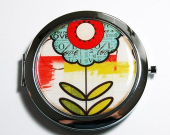 Flower compact mirror, pocket mirror, purse mirror, mirror, compact mirror, floral mirror, abstract flower  (2696)