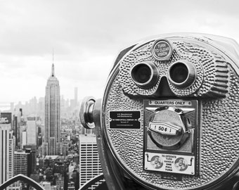New York Photo, Empire State Building, Binoculars, NYC Art Black & White, New York City Photo Series • NYC Photo, 8x10 Photography Print