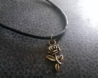Handmade Cord Bronze Rose Flower Choker