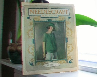 1923 Needlecraft Magazine July Issue with Great Cream Of Wheat Ad Vintage 1910s Sewing