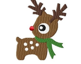 Embroidery Design Reindeer 1l 4'x4' - DIGITAL DOWNLOAD PRODUCT