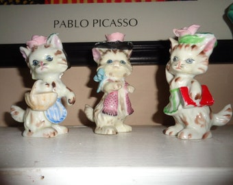 Mid Century Cute vintage set of 3 Kitty Cats