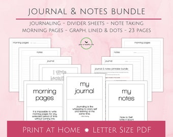 Journaling, Note Taking & Morning Pages Printable Bundle - 8.5x11 Letter Size PDF - 23 Pages - Dot, Graph and Lined Paper