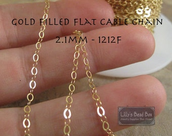Gold Thin Chain, 14/20 Gold Filled Cable Chain, By the Foot, Flattened 2.1mm Cable Chain for Making Jewelry, Everyday Necklace (1212f)