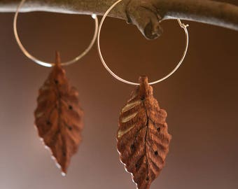 Delicate wooden leaves sterling silver handmade earrings || wooden jewelry || silver wooden earrings || unique design || Bible Land wood