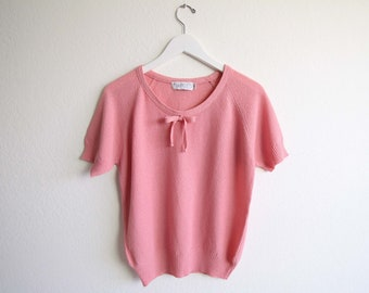 VINTAGE Sweater Pink Knit Top Bow Shortsleeve Large
