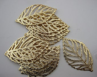 Textured leaf, 16k Gold Leaf pendant connector, Leaf charm, Leaf Branch pendant, 2pc, C-020