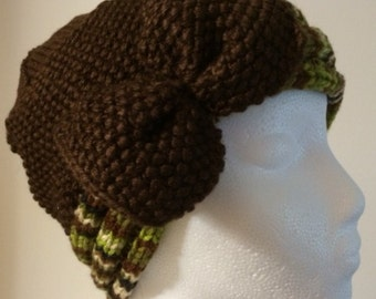 Womens Brown Knitted Hat