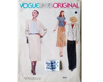 """UNCUT inc Sew in Label Vogue Paris Original 2013 Nina Ricci Pant Suit Jacket Top Skirt Trouser Culotte Sewing Pattern Size Bust 32.5"""" UK 10"""
