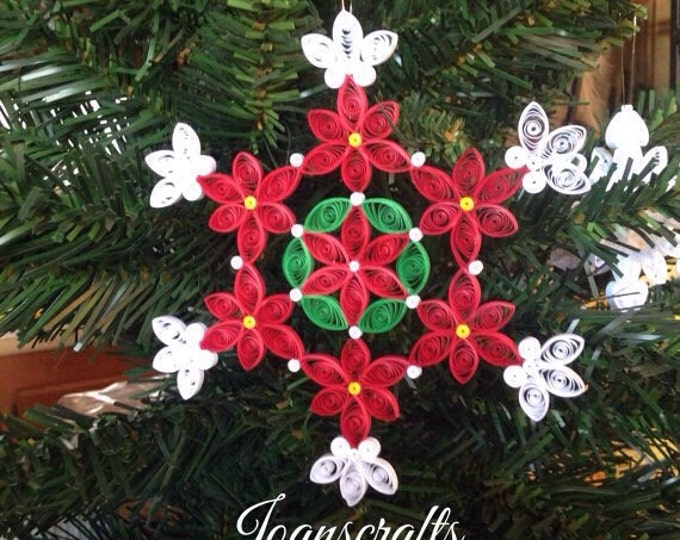Poinsettia Snowflake Ornament