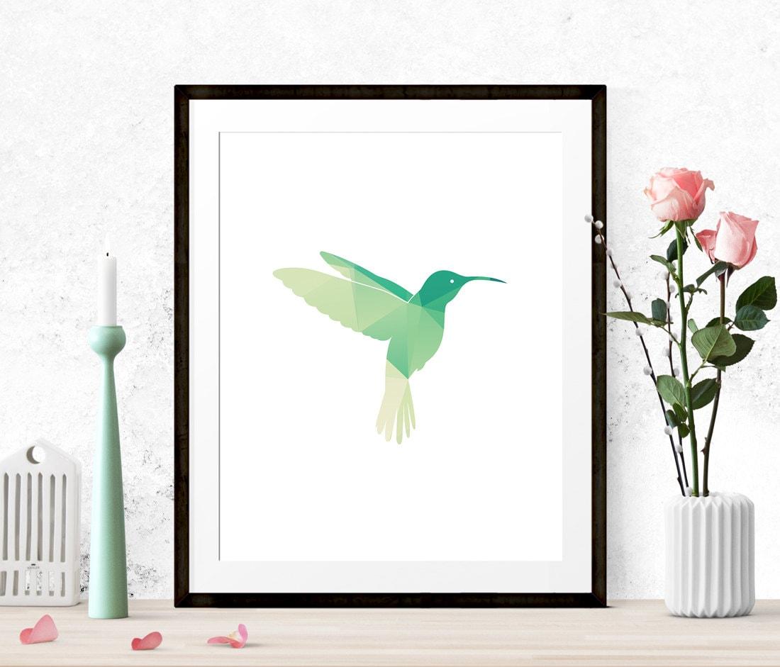 Mint Green Hummingbird Print Graphic Art Print Low Poly