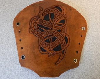 Tribal Dragon leather bracers, leather  armor, gauntlets