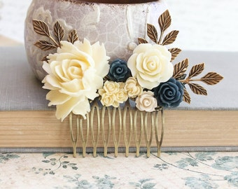 Bridesmaid Gift Bridal Hair Comb Cream Rose Comb Vintage Inspired Country Barn Wedding Something Blue Navy Hair Accessories Flowers for hair