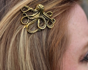 Octopus, Single Gold Octopus Bobby Pin, Gold Colored Octopus, Octopus Hair Accessory, Sea Creature, Gold Kraken, Kraken, Kraken Bobby Pin