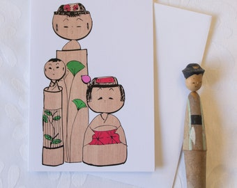 Japanese Kokeshi Dolls // Illustrated Greeting Card